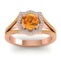Ornate Halo Naksatra Citrine Ring with Diamond in 14K Rose Gold