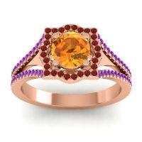 Ornate Halo Naksatra Citrine Ring with Garnet and Amethyst in 14K Rose Gold