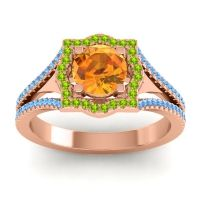 Ornate Halo Naksatra Citrine Ring with Peridot and Swiss Blue Topaz in 18K Rose Gold
