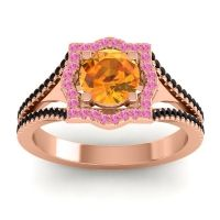 Ornate Halo Naksatra Citrine Ring with Pink Tourmaline and Black Onyx in 18K Rose Gold