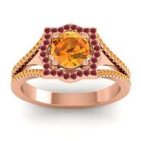 Ornate Halo Naksatra Citrine Ring with Ruby in 14K Rose Gold
