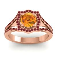 Ornate Halo Naksatra Citrine Ring with Ruby and Garnet in 14K Rose Gold