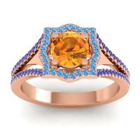Ornate Halo Naksatra Citrine Ring with Swiss Blue Topaz and Blue Sapphire in 18K Rose Gold