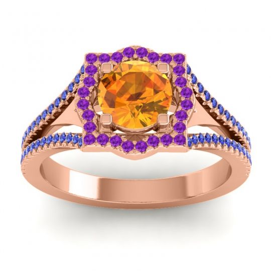 Ornate Halo Naksatra Citrine Ring with Amethyst and Blue Sapphire in 14K Rose Gold