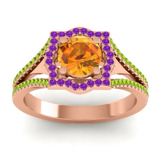 Ornate Halo Naksatra Citrine Ring with Amethyst and Peridot in 14K Rose Gold