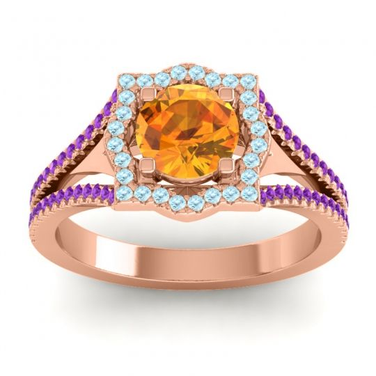 Ornate Halo Naksatra Citrine Ring with Aquamarine and Amethyst in 14K Rose Gold