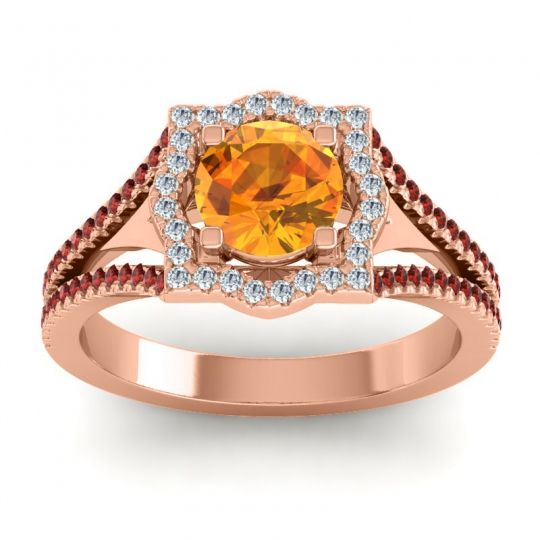 Ornate Halo Naksatra Citrine Ring with Diamond and Garnet in 18K Rose Gold