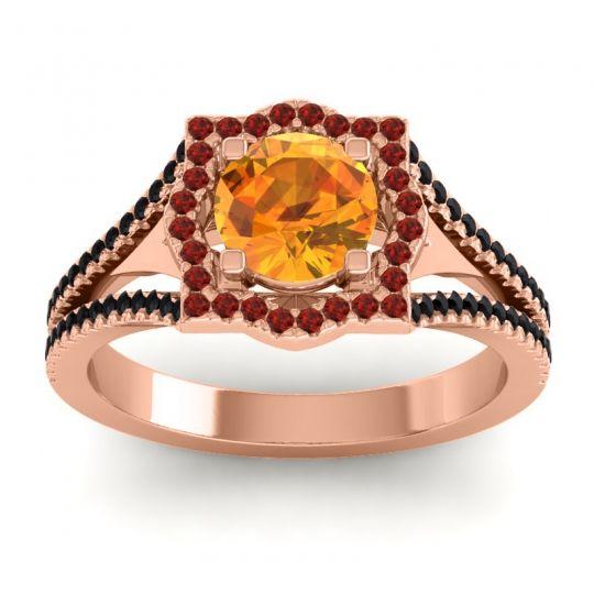 Ornate Halo Naksatra Citrine Ring with Garnet and Black Onyx in 14K Rose Gold