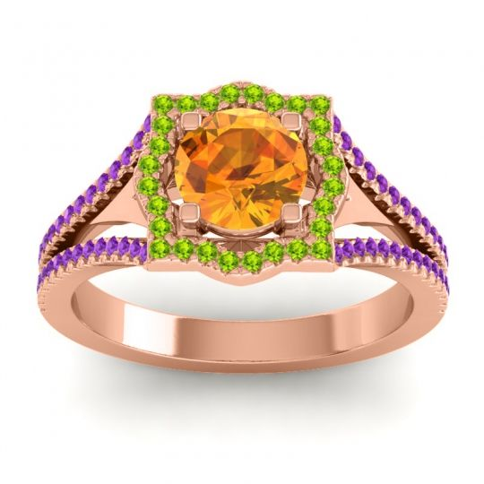 Ornate Halo Naksatra Citrine Ring with Peridot and Amethyst in 14K Rose Gold