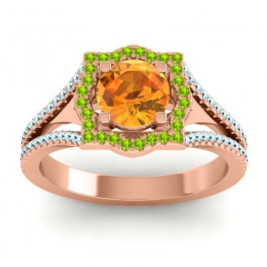 Ornate Halo Naksatra Citrine Ring with Peridot and Aquamarine in 18K Rose Gold