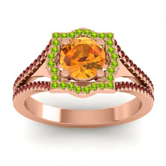 Ornate Halo Naksatra Citrine Ring with Peridot and Garnet in 18K Rose Gold