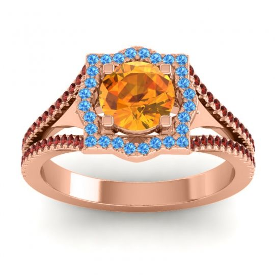 Ornate Halo Naksatra Citrine Ring with Swiss Blue Topaz and Garnet in 14K Rose Gold