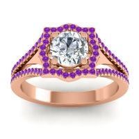 Ornate Halo Naksatra Diamond Ring with Amethyst in 18K Rose Gold