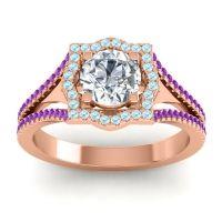 Ornate Halo Naksatra Diamond Ring with Aquamarine and Amethyst in 18K Rose Gold