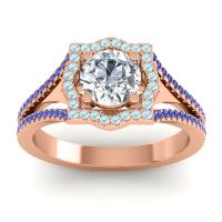 Ornate Halo Naksatra Diamond Ring with Aquamarine and Blue Sapphire in 14K Rose Gold