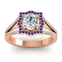 Ornate Halo Naksatra Diamond Ring with Blue Sapphire and Aquamarine in 14K Rose Gold