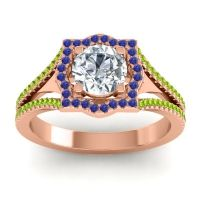 Ornate Halo Naksatra Diamond Ring with Blue Sapphire and Peridot in 18K Rose Gold