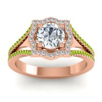 Ornate Halo Naksatra Diamond Ring with Peridot in 18K Rose Gold