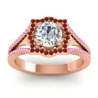 Ornate Halo Naksatra Diamond Ring with Garnet and Pink Tourmaline in 18K Rose Gold