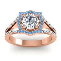Ornate Halo Naksatra Diamond Ring with Swiss Blue Topaz and Aquamarine in 14K Rose Gold