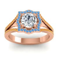 Ornate Halo Naksatra Diamond Ring with Swiss Blue Topaz and Citrine in 18K Rose Gold
