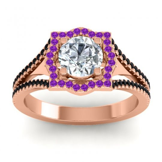 Ornate Halo Naksatra Diamond Ring with Amethyst and Black Onyx in 18K Rose Gold