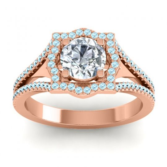 Ornate Halo Naksatra Diamond Ring with Aquamarine in 18K Rose Gold