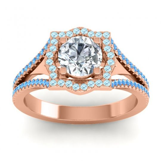 Ornate Halo Naksatra Diamond Ring with Aquamarine and Swiss Blue Topaz in 14K Rose Gold