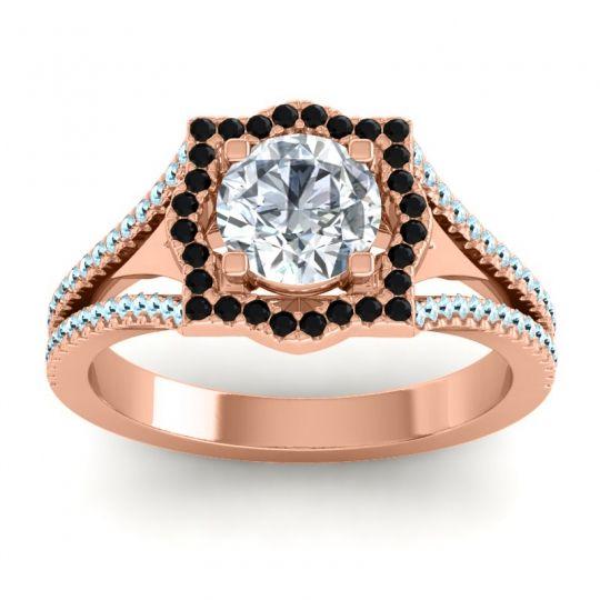 Ornate Halo Naksatra Diamond Ring with Black Onyx and Aquamarine in 14K Rose Gold