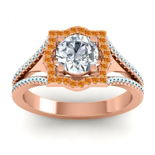 Ornate Halo Naksatra Diamond Ring with Citrine and Aquamarine in 14K Rose Gold
