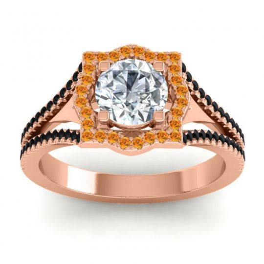 Ornate Halo Naksatra Diamond Ring with Citrine and Black Onyx in 14K Rose Gold