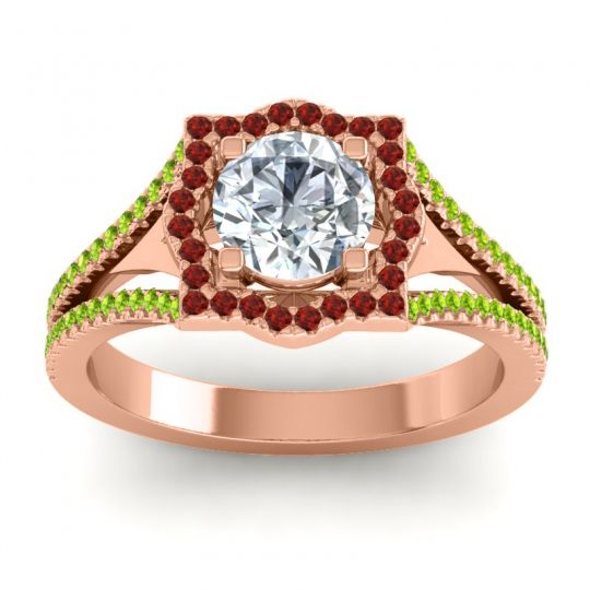Ornate Halo Naksatra Diamond Ring with Garnet and Peridot in 18K Rose Gold