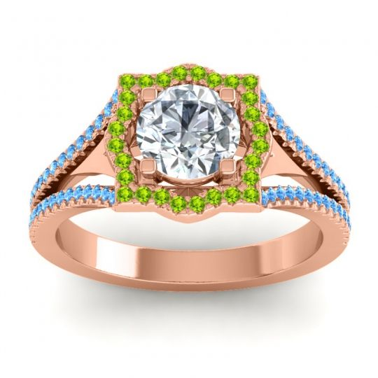 Ornate Halo Naksatra Diamond Ring with Peridot and Swiss Blue Topaz in 18K Rose Gold