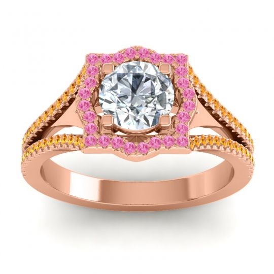 Ornate Halo Naksatra Diamond Ring with Pink Tourmaline and Citrine in 18K Rose Gold