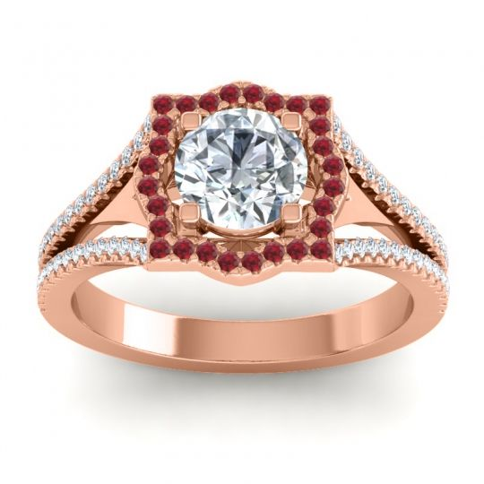 Ornate Halo Naksatra Diamond Ring with Ruby in 18K Rose Gold
