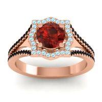 Ornate Halo Naksatra Garnet Ring with Aquamarine and Black Onyx in 18K Rose Gold