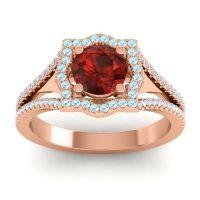 Ornate Halo Naksatra Garnet Ring with Aquamarine and Diamond in 14K Rose Gold