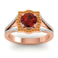 Ornate Halo Naksatra Garnet Ring with Citrine and Aquamarine in 18K Rose Gold