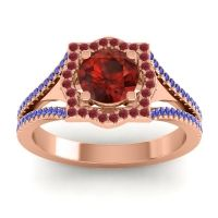 Ornate Halo Naksatra Garnet Ring with Ruby and Blue Sapphire in 14K Rose Gold