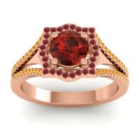Ornate Halo Naksatra Garnet Ring with Ruby and Citrine in 18K Rose Gold