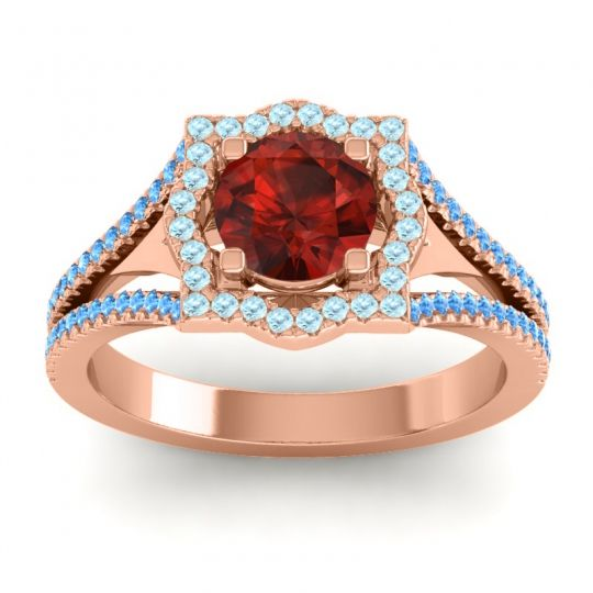 Ornate Halo Naksatra Garnet Ring with Aquamarine and Swiss Blue Topaz in 14K Rose Gold