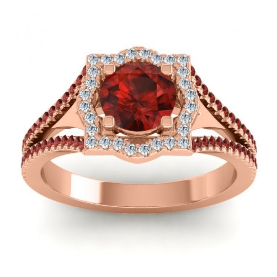 Ornate Halo Naksatra Garnet Ring with Diamond in 18K Rose Gold