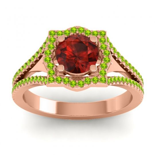 Ornate Halo Naksatra Garnet Ring with Peridot in 18K Rose Gold