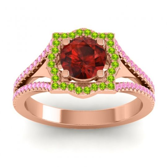 Ornate Halo Naksatra Garnet Ring with Peridot and Pink Tourmaline in 14K Rose Gold