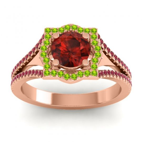 Ornate Halo Naksatra Garnet Ring with Peridot and Ruby in 14K Rose Gold