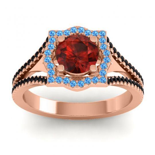 Ornate Halo Naksatra Garnet Ring with Swiss Blue Topaz and Black Onyx in 14K Rose Gold