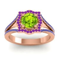 Ornate Halo Naksatra Peridot Ring with Amethyst and Blue Sapphire in 18K Rose Gold
