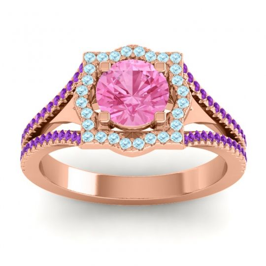 Ornate Halo Naksatra Pink Tourmaline Ring with Aquamarine and Amethyst in 14K Rose Gold