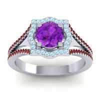 Ornate Halo Naksatra Amethyst Ring with Aquamarine and Garnet in 14k White Gold