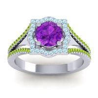 Ornate Halo Naksatra Amethyst Ring with Aquamarine and Peridot in Palladium